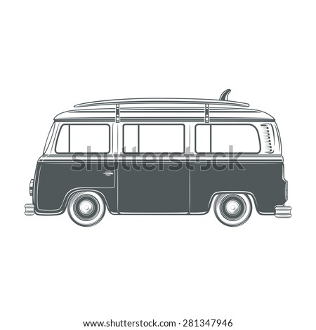 Retro Vintage Travel Camper Van With Surf Board Isolated On White