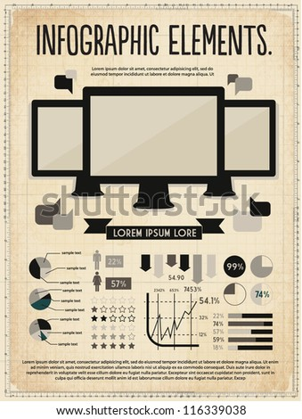 retro vintage vector set of infographic elements for your documents and reports with three touchscreen devices - stock vector