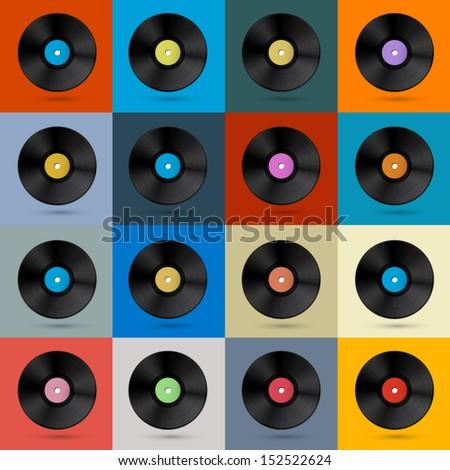 Retro, Vintage Vector Vinyl Record Disc Background  - stock vector