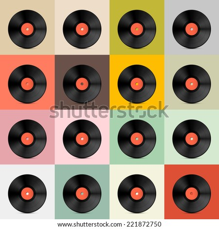 Retro - Vintage Vector Vinyl Record Disc Template  - stock vector