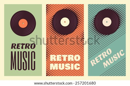 Retro, vintage vinyl record banners. Three retro music templates - stock vector