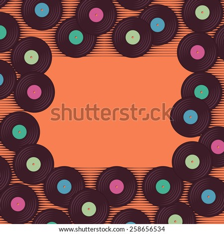 Retro, vintage vinyl record frame. Place for your text - stock vector