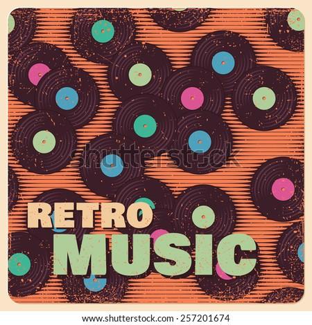 Retro, vintage vinyl record grunge background - stock vector