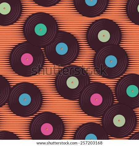 Retro, vintage vinyl record grunge background. Seamless pattern - stock vector