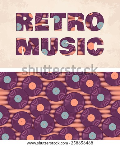 Retro, vintage vinyl record soft colored template. Old paper card - stock vector