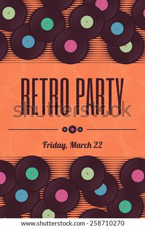 Retro, vintage vinyl record template. Stylized invitation, flyer of poster - stock vector
