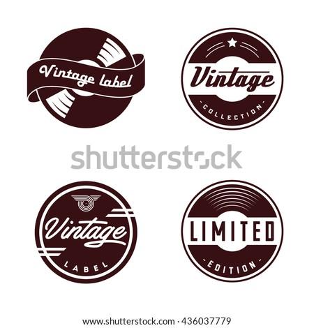 Retro Vinyl Records Emblem Retro Label Stock Vector