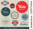 Retro Voting Stickers - stock vector