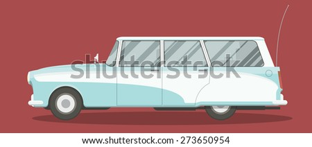 Retro wagon car vector illustration. Side view of an old car. - stock vector