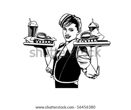Retro Waitress - Clip Art - stock vector