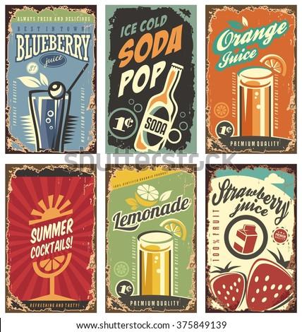 Retro Wall Decor retro wall decor juices drinks set stock vector 375849139