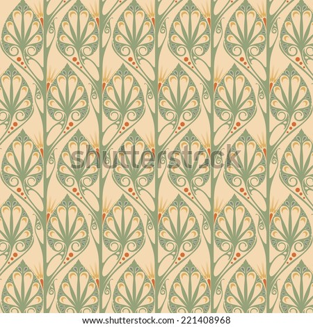 retro wallpaper - art nouveau - stock vector