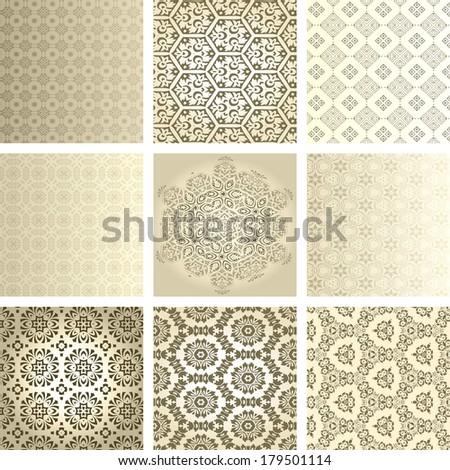 Retro wallpaper set - stock vector