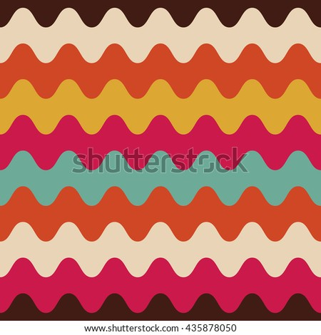 retro wave seamless pattern, multicolor background - stock vector