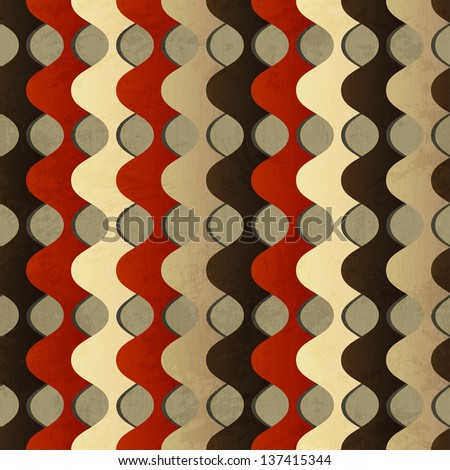 retro waves seamless pattern with grunge effect - stock vector
