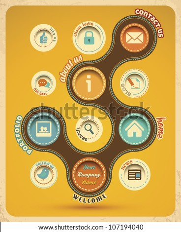 Retro web design template. Vector Illustration. - stock vector