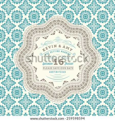 Retro wedding card - stock vector