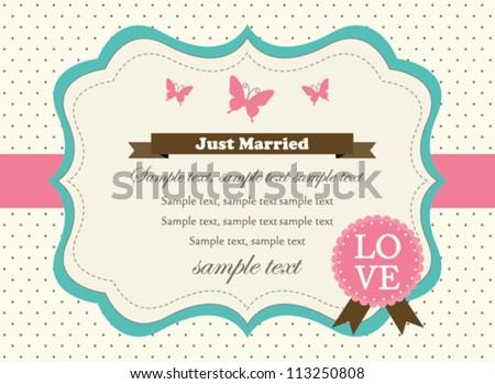 Retro Wedding Invitation Card - stock vector