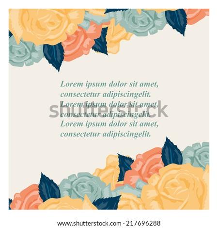 Retro Wedding invitation card with roses  - stock vector