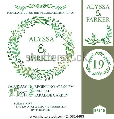 Retro wedding invitation design template watercolor stock photo retro wedding invitation design template with watercolor green branchesleaves wreathlaurelscorative stopboris Images