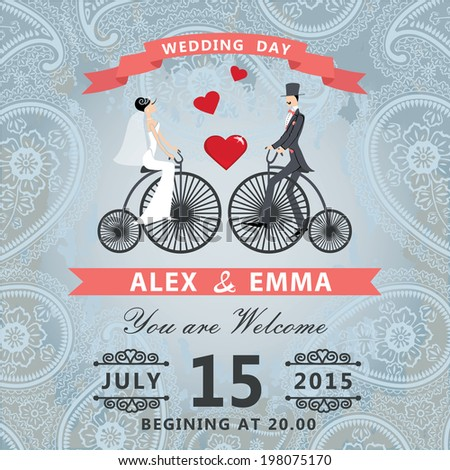 Retro wedding invitation with Cartoon couple bride and groom  in retro bicycle.Vintage paisley grunge background.Vector design template.