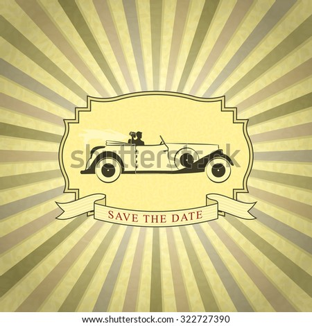 Retro Wedding Invitation with Place for Text. Vintage Background with Bride and Groom Driving Vintage Car - stock vector