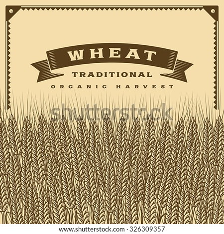 Retro wheat harvest card brown. Editable vector illustration with clipping mask.
