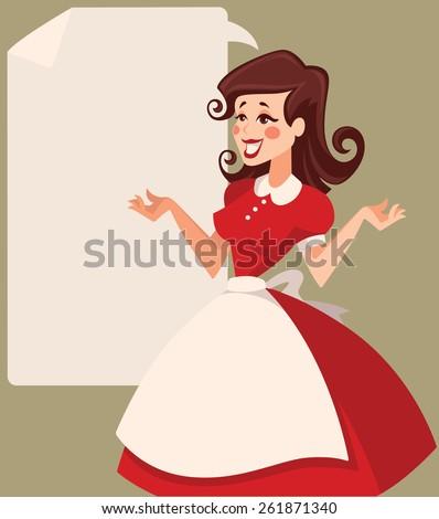retro woman in cartoon style vector illustration - stock vector