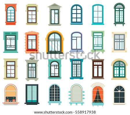 High Quality Retro Wood Or Wooden Window Frames View Isolated On House Wall. Detailed  Plastic Window With Part 25