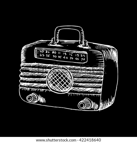 Retro wooden radio. Sketchy style. - stock vector