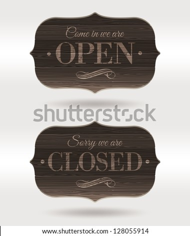 Retro wooden signs - Open and Closed - stock vector