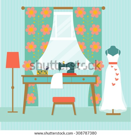 retro workplace seamstress with window and wedding dress. Table and sewing machine. flat vector illustration - stock vector