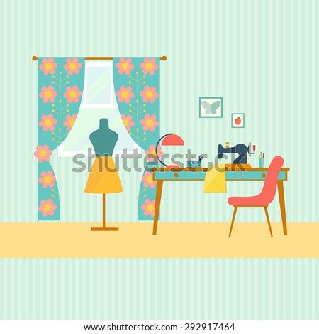 retro workplace seamstress with window. Table and sewing machine. flat vector illustration - stock vector