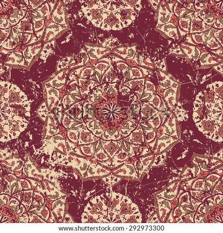 Retro worn carpet with oriental ornaments. Medieval vector graceful pattern on the shabby ancient fresco. Fragments of old ornate wall with ethnic tracery. Vintage grunge texture - stock vector