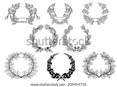 Retro wreath set with christmas, laurel, oak and platanoides in black color isolated on white background. For anniversary, jubilee, sports or logo design - stock vector