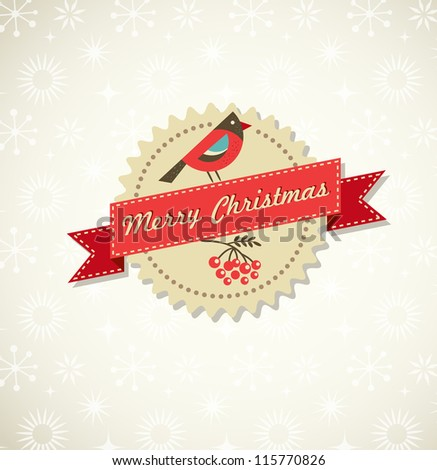 Retro Xmas background with bird, label, ribbon and snowflake