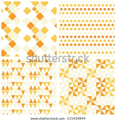 retro yellow and orange geometric figures seamless pattern scrapbook paper set - stock vector