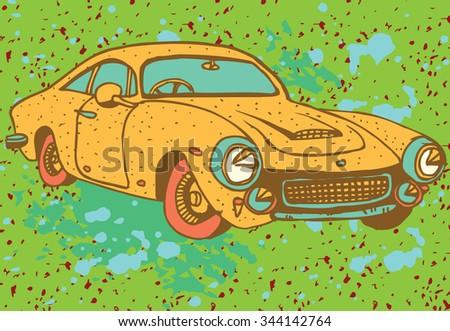 Retro Yellow Car - stock vector