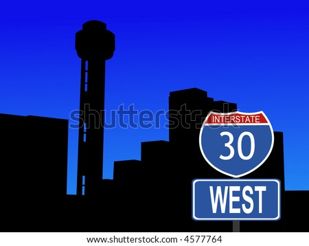 Reunion tower Dallas and interstate 30 sign