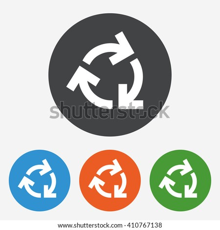 Reuse or reduce icon sign. Reuse or reduce icon flat design. Reuse or reduce icon for app. Reuse or reduce icon for logo. Reuse or reduce icon picture. Circle buttons with flat icon. Vector - stock vector