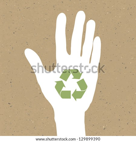Reuse sign on hand silhouette on recycled paper. Vector, EPS10 - stock vector