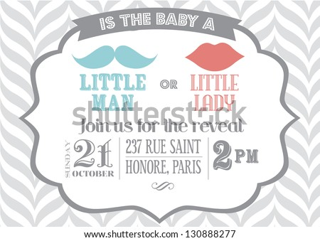 Reveal The Gender Baby Shower Invitation Template Vector/illustration