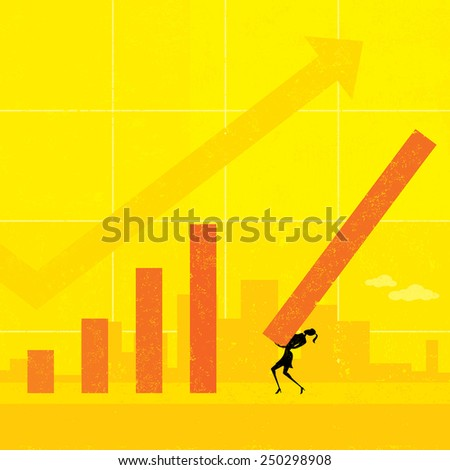 Revenue Projection A businesswoman projecting future revenues using a life size bar graph. The woman and background are on separate labeled layers.