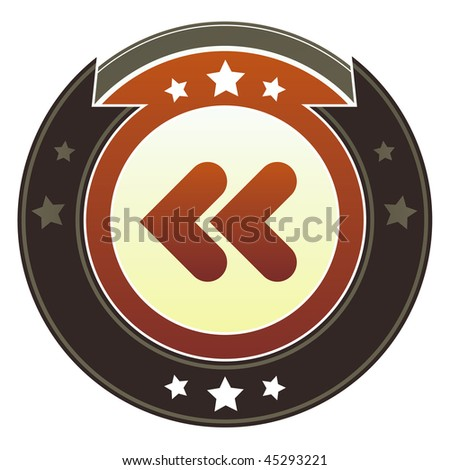 Reverse, rewind, or back media player icon on round red and brown imperial vector button with star accents