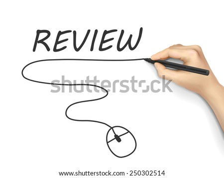 review word written by hand on white background - stock vector
