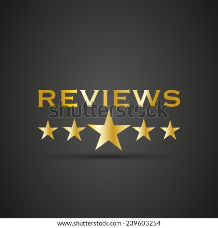 Reviews word with 5 star - stock vector