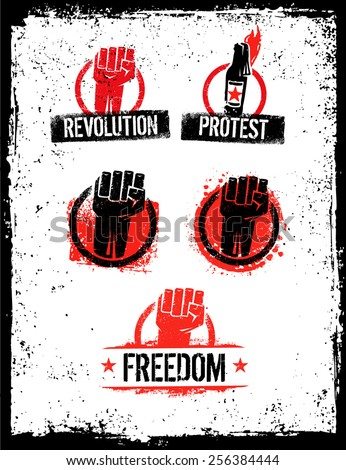 Revolution Fist Grunge Distressed Vector Design Elements on Scratched Background - stock vector