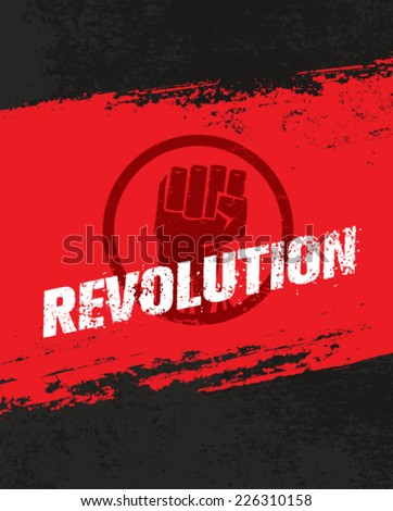 Revolution Fist Grunge Vector Poster Concept on Distressed Background - stock vector