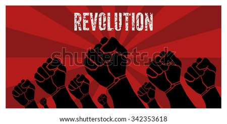 Revolution poster - vector template - stock vector