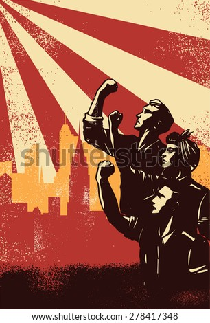 Revolution Poster, workers raising fists with cityscape background, vector - stock vector